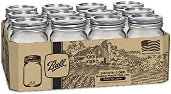 12-Pk. Ball Smooth-Sided Regular Mouth Pint Jars 16 Oz.