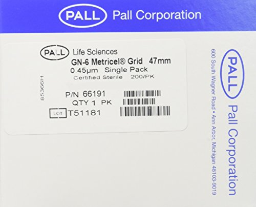 PALL 66191 Metricel GN-6 Membrane Filter, Grid Pattern, 0.45µm Pore Size, 47 mm Diameter by Pall