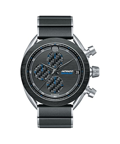 Men's Movado Parlee 0606855 Titanium and Carbon Fiber Case and Link Bracelet