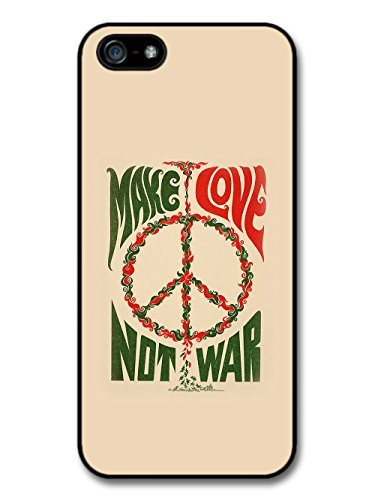 Make Love Not War Quote Retro Peace Sign Typography Design coque pour iPhone 5 5S