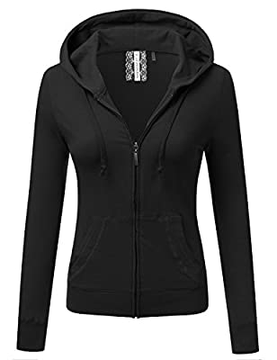 JJ Perfection Women's Solid Knit Stretch Long Sleeve Zip Up Hoodie Jacket