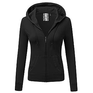 JJ Perfection Women's Slim Fit Lightweight Jersey Full Zip Hoodie Jacket Black S