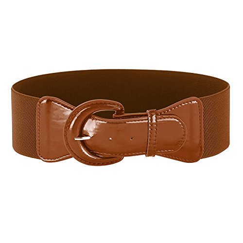 Juniors Retro Wide Waspie Belt with Big Round Buckle(S,Brown (Brown Juniors Dress)