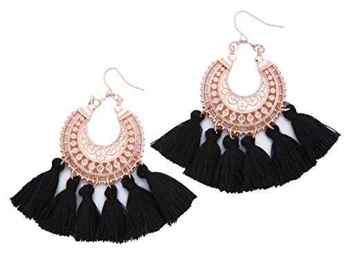 Rose Gold Tassel Earrings: Black fringe gifts for women. Fashion drop dangle tassle earing by BLUSH & CO. (Black)