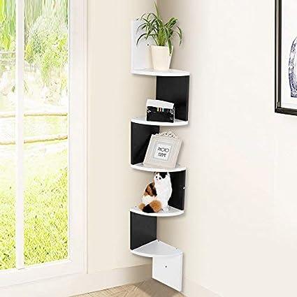 Zerone - Estantería esquinera de pared, 5 baldas, estantería flotante montada de pared, color negro y blanco, 127 cm de altura