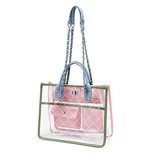 Womens Clear Purse Turn Lock Handbags Chain Shoulder Bags NFL NCAA PGA Approved Bags Pink and Green