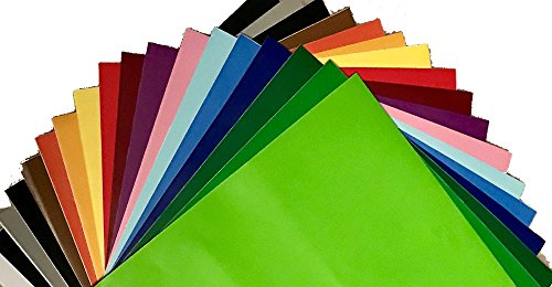 12' x 12' - 18 PACK - Assorted Color Permanent Self Adhesive Backed Vinyl Sheets - for Cricut Silhouette Cameo Craft Cutters Wall Decoration Decals CraftROBO QuicKutz CEV1200 Brother ScanNCut