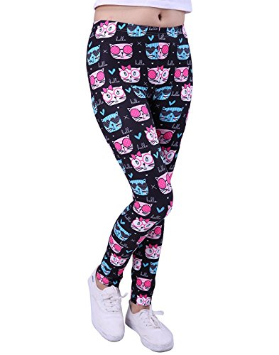 HDE Girl's Leggings 3 Pack with Print Designs Full Ankle Length Kids Pants 3-11Y by HDE (Image #1)