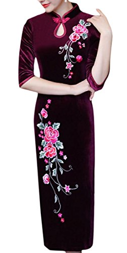 Confortables Femmes Velours Or Imprimé Floral Brodé Robe Qipao Chinois Motif1