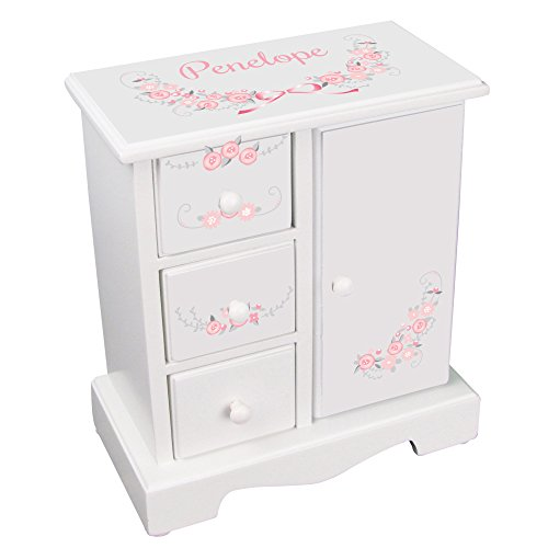 (MyBambino Personalized Girls Jewelry Armoire with Vintage Garland Pink)