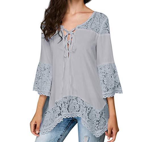 3/4 Sleeve Blouses Tops, Clearance Duseedik Women Loose Three Quarter V-Neck T Shirts Tops Lace