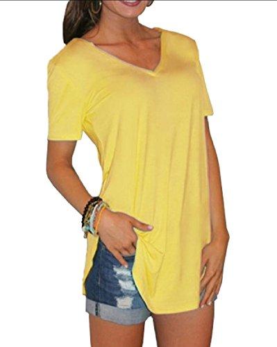 具体的にボタンクリスマスAngelSpace 女性の固体色のvネックtシャツ特大のショートスリーブベーシックトップス