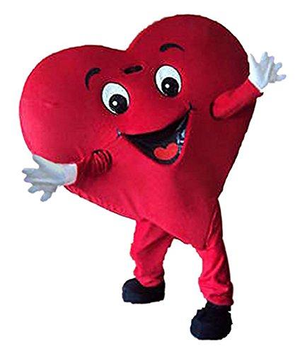 Red Heart Mascot Costume Adult Size Fancy Dress Halloween