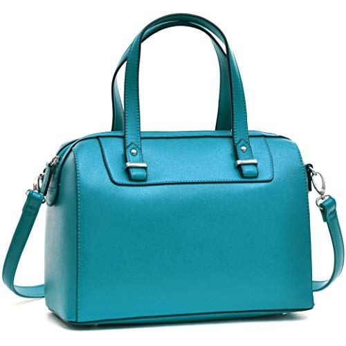 Barrel Satchel Handbag Top Handle Shoulder Bag Zip Purse Small Blue