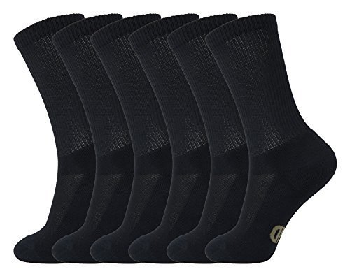 MD 6 Pack Soft Men and Women Antibacterial Bamboo Fiber Crew Casual Socks 6Black10-13