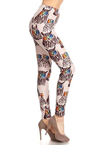 R868W-EXTRAPLUS Owl Du Jour Print Fashion Leggings from Leggings Depot