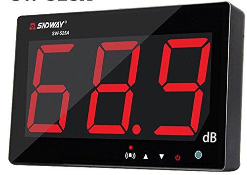 TestHelper 9.7'' Sound Level Meter Tester 30~130db 9.7'' Large Screen LCD Display Wall Hanging Type Decibel Noise Measuring with Alarm (Sound Level Meter)