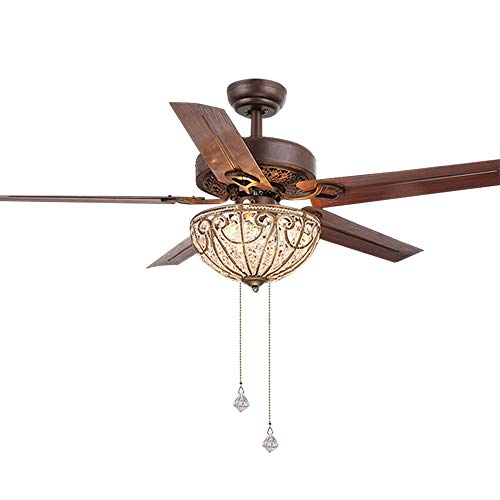 Copper Fan Kits Antique Light - RainierLight Classical Crystal Ceiling Fan Lamp LED Light for Bedroom/Living Room Hotel/Restaurant with 5 Premium Metal Reversible Blades Remote Control 48 Inch