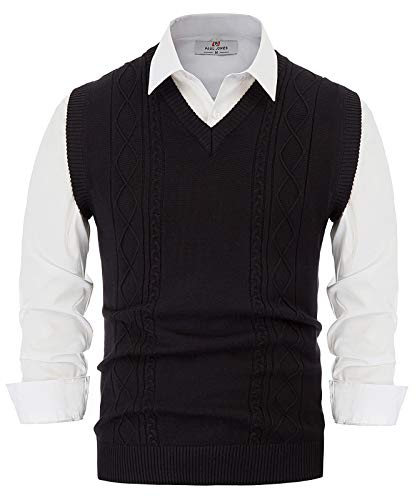 PJ PAUL JONES Men's Casual Slim Fit V-Neck Cable Knit Business Knitwear Sweater Vest (L,Black)
