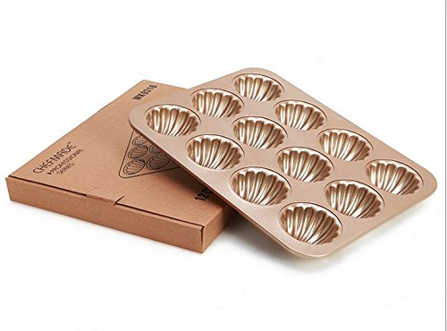 Madeleine Pans Baking Shell Mould Madeleine Cake Pan 12-cup Non Stick Gold Bakeware(madeleine pan) by Monfish (Image #3)