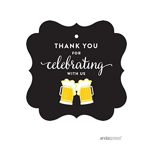 Andaz Press Birthday Fancy Frame Gift Tags, Thank You for Celebrating With Us, Beer Mugs Cheers!, 24-Pack, For Gifts and Party Favors