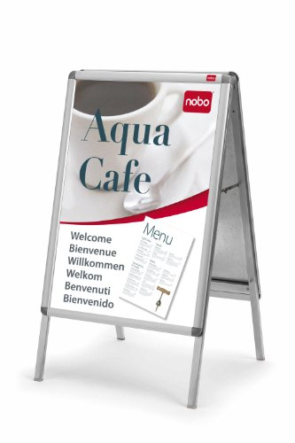 Nobo Plakatständer mit elegantem Aluminiumrahmen (2 Fächer, DIN A1)