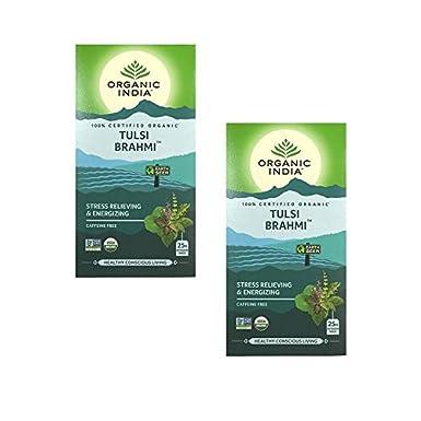 Organic India Infusión Tulsi Brahmi Pack de 2 (Cada paquete ...
