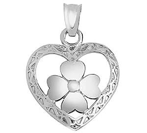 14k White Gold Celtic Knot Heart Pendant with Irish Luck 4-Leaf Clover