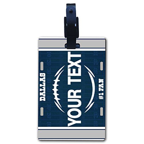 BleuReign(TM Personalized Custom Name Football Dallas License Plate Luggage Tag with Strap ()