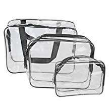 3-in-1 PVC Transparent Cosmetic Tote Bag Toiletry Organizer Handbags - Black by Generic