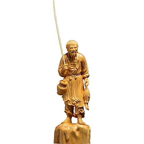 YZDSBD Statues Figurines Sculptures Fisherman Wood Creative Carving Crafts Wood Carving Zen Character Ornaments