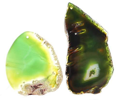 1pc Crystal Green Large Table Cut Slice Focal Nugget Agate Ice Quartz Pendant Charm Gemstone Freeform 32-48mm x 75-80mm x 5mm Hole 2mm ()