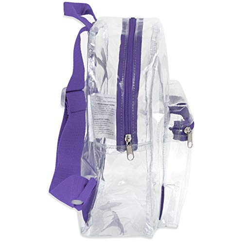 Madison & Dakota Water Resistant Clear Mini Backpacks for School, Beach - Stadium Approved Bag with Adjustable Straps (Purple)