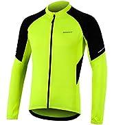 BERGRISAR Men's Basic Cycling Jerseys Long Sleeves Bike Bicycle Shirt Zipper Pockets BG012