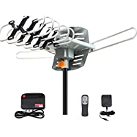 360° UV Dual-band Outdoor Antenna Satellite Television Antennas Set Outdoor Amplified HDTV Digital TV Antenna 150 Miles Range Support UHF/VHF Signal With Remote Control & US Plug & Cable 33 ft