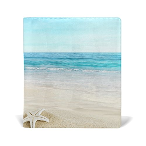 Hardback Cover Shell (BAIHUISHOP Beach Sand Shell Tropical Book Covers Fits upto 9 x 11 Inch Durable Reusable Size Fit for School or Textbook Hardback Books)