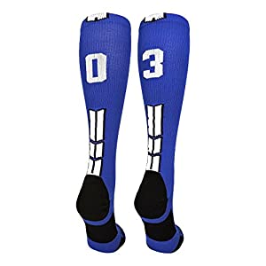 MadSportsStuff Royal/White Player Id Over the Calf Number Socks (#03, Small)