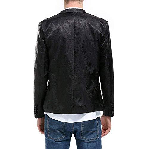 Blazer Schwarz Classique Tuxedo Affaires Un Slim Motif Coupe Mariage Veste Costume Bouton Soirée Fit De Hommes Chic BdwSpS