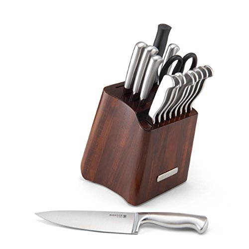 Sabatier 16-Piece Stainless Steel Hallow Handle Knife Set with Acacia Storage Block