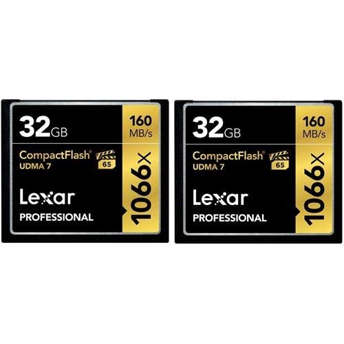 Lexar Professional 1066x 32GB CompactFlash card LCF32GCRBNA10662-2 Pack