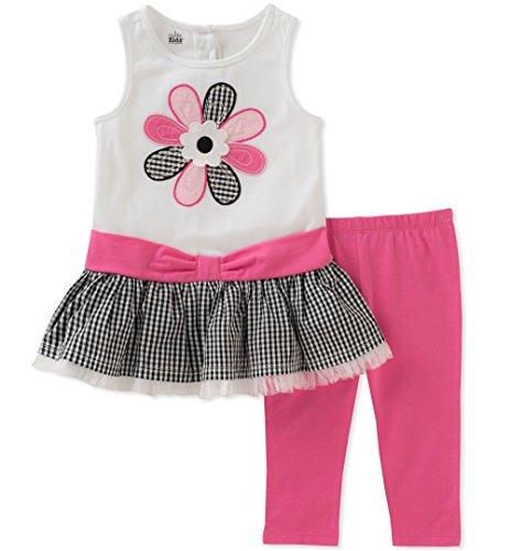 Kids Headquarters Girls' Little Tunic Set-Sleeveless, White/Aloha Pink, 4 ()