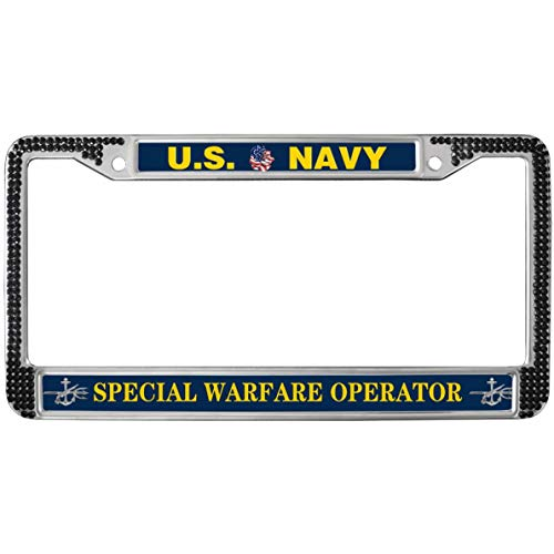 GND US Navy Special Warfare Operator License Plate Frame Black Rhinestones,United States Navy Rhinestone Bling License Plate Frame Bling Car Black License Plate Frame with Screw caps