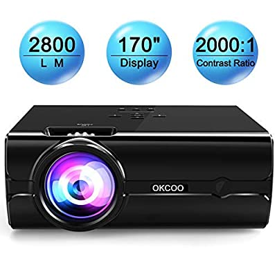 Mini Projector, OKCOO LED Projector Full HD 1080P 130'' Display,20,000 Hours Lamp Life Home Cinema Theater Video Projector Compatible with HDMI,USB,SD,VGA,AV,TV,Laptop