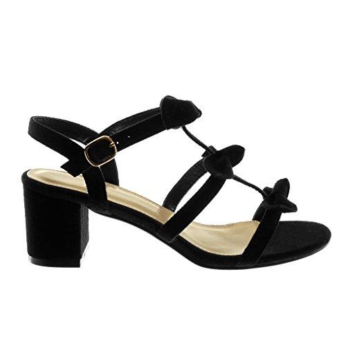 Angkorly Damen Schuhe Sandalen - Knöchelriemen - Knoten - Multi-Zaum Blockabsatz High Heel 6.5 cm Schwarz