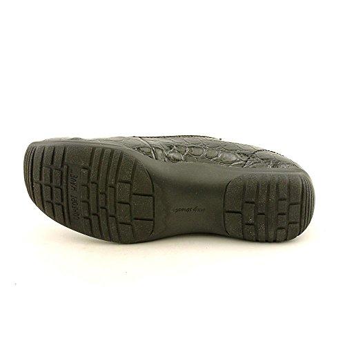 Easy Street Purpose Estrechos Fibra sintética Mocasín charol negro Croco