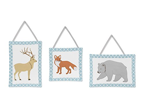 Blue, Grey and White Woodland Deer Fox Bear Animal Toile Girl or Boy Wall Hanging Accessories