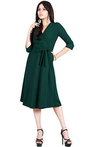 a9032796474 Viris Zamara Plus Size Womens V-Neck Half Sleeve Wedding Semi Formal  Working Office Flowy Flowing Solid Modest Cute Robe Knee Length Work A-line  Pockets ...