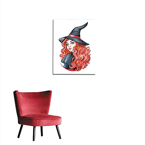 longbuyer Wall Paper Beautiful Young Girl - Witch Halloween Costume Watercolor Illustration Mural 32