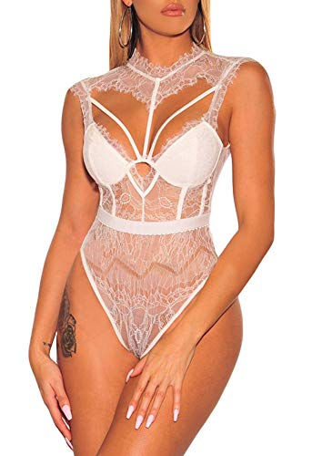 (Women Sexy Teddy Lingeries Sheer Lace Strappy Bustier Choker Bodysuits Rompers White 2 4)