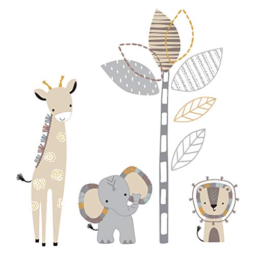Lambs & Ivy Jungle Safari Gray/Tan Elephant/Giraffe Nursery Wall Decals/Stickers Baby Nursery Wall Decals